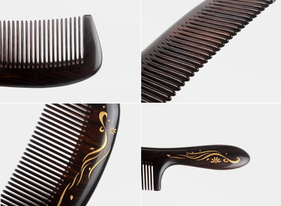 Деревянная расческа для волос XinZhi Ebony элементы дизайна крупным планом