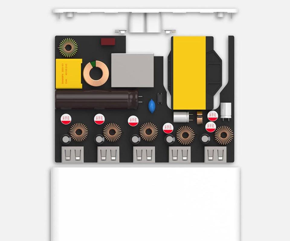 Зарядное устройство Multi USB port power adaptor 5 USB White с изображением внутренней конструкции устройства