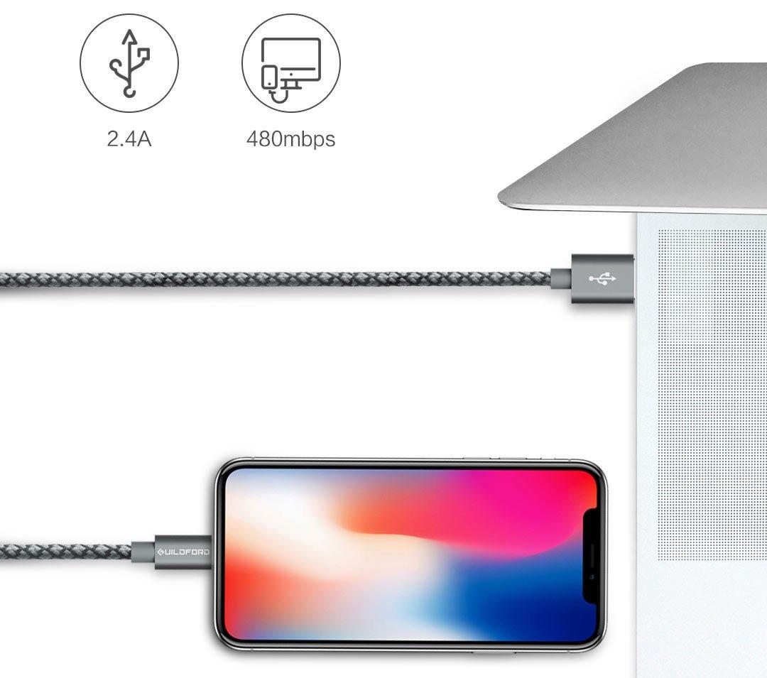 Кабель ZMi AL803 Apple Kevlar Data cable/Micro USB Kevlar оплетка