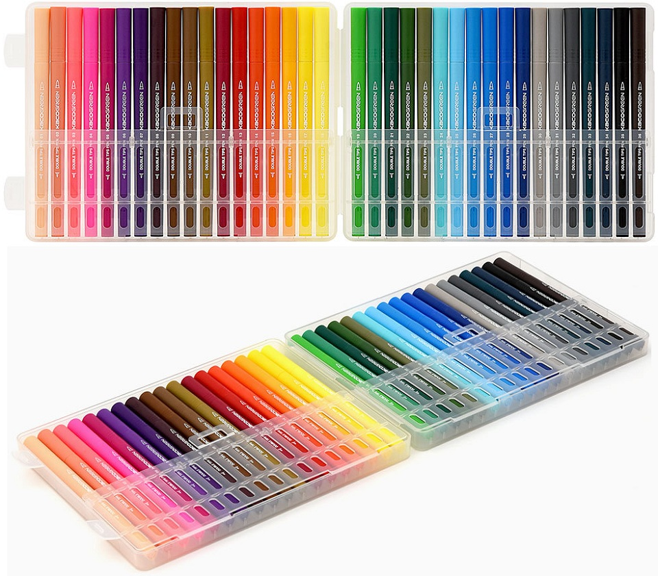 Набор цветных маркеров KACO Double Tips Pen 36 Colors K1037 крупным планом