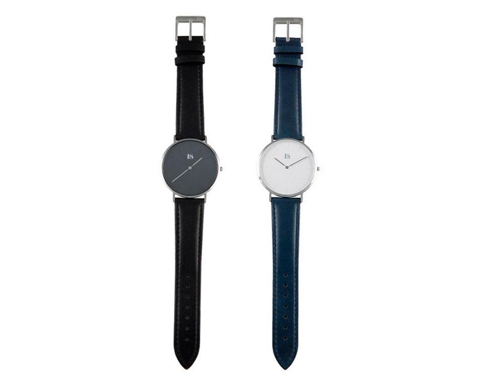 I8 Quartz Watch Black for Man кожанный ремешок
