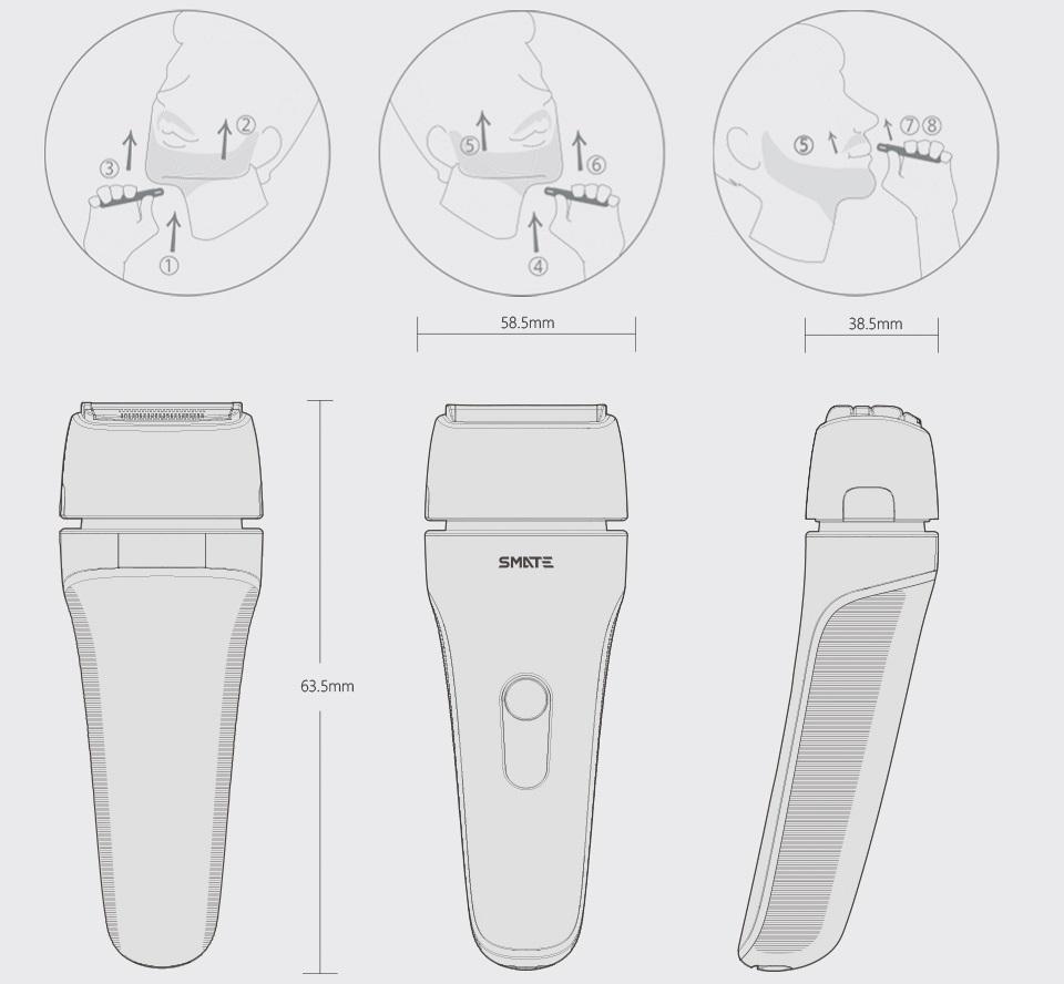 Электробритва SMATE Four-blade shaver Black ST-W481 демонстрация правильного движения бритвы и размеры изделия