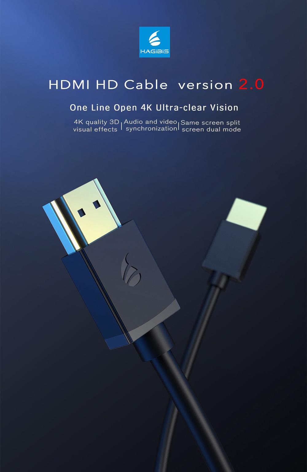 HAGIBIS HDMI HD Cable 2M from Xiaomi youpin- Black