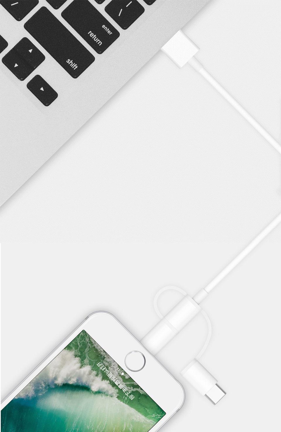 Кабель Zaofeng 3-Way Data cable Lightening/Type-C/Micro USB White 100 cm подключение к двум девайсам